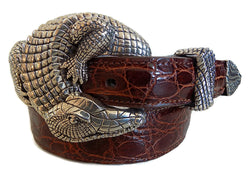 "1"" ALLIGATOR 3 Piece Buckle Set in .925 Sterling Silver - AL BERES"