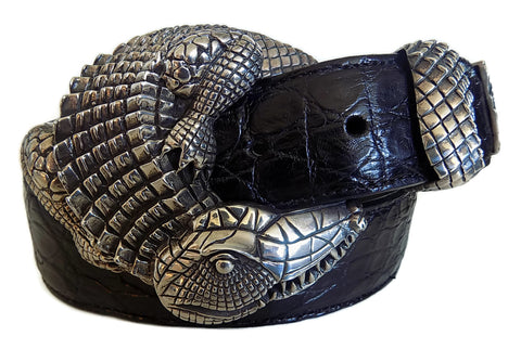 "1½"" ALLIGATOR 3 Piece Buckle Set in .925 Sterling Silver - AL BERES"