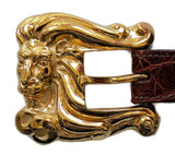 "1"" LEO THE LION 3 Piece Buckle Set in 18kt Gold Vermeil over .925 Sterling Silver - AL BERES"