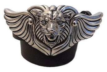 "1.5"" LION WING 3 Piece Belt Buckle Set in .925 Sterling Silver - AL BERES"