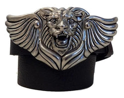 "1.5"" LION WING Belt Buckle in .925 Sterling Silver"