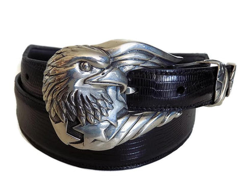 "1"" FREEDOM EAGLE 3 Piece Buckle Set in .925 Sterling Silver - AL BERES"