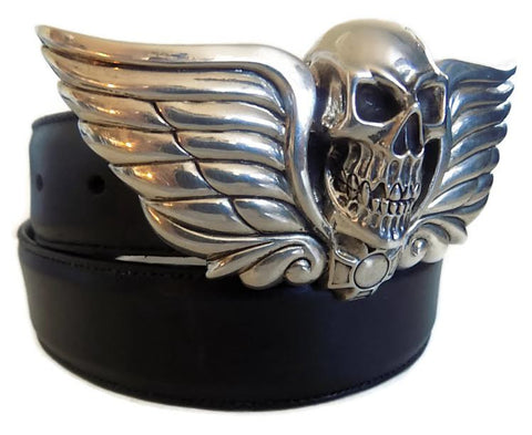 "1½"" SKULL HEAD ""Buckle Only"" with a Scroll Back Plate in .925 Sterling Silver - AL BERES"