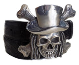 "1½"" PIRATE SKULL with DREADLOCKS Buckle in .925 Sterling Silver - AL BERES"