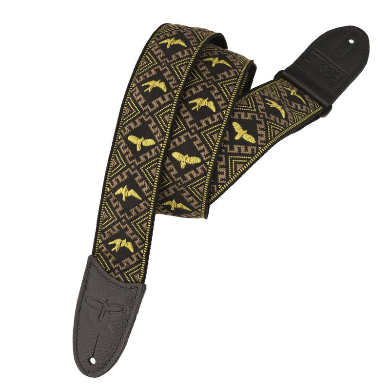 "Premium Leather 2"" Strap Embroidered Birds"