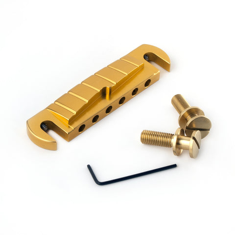 Gold Anodized Stoptail Bridge with Unplated Brass Studs