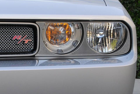 Challenger Headlight Bezel 09-14 Dodge Challenger Stainless Polished 2 Piece T1 Series T-REX Grilles