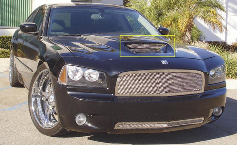 Charger SRT Hood Scoop Grille Insert 05-10 Dodge Charger SRT Stainless Polished T1 Series T-REX Grilles