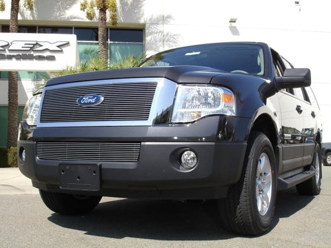 Expdition Grille Insert 07-14 Ford Expdition Aluminum Polished 1 Piece Billet Series T-REX Grilles