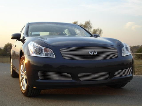 G-35 Sedan Grille Insert 07-08 Infiniti G-35 Sedan Aluminum Polished Billet Series T-REX Grilles
