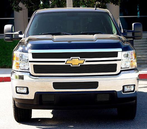 Silverado HD Grille Overlay 11-14 Chevrolet Silverado HD Aluminum Powdercoat Black 2 Piece Billet Series T-REX Grilles