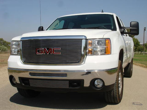 Sierra HD Grille Overlay/Bolt On W/Logo Opening 07-10 GMC Sierra HD Aluminum Polished Billet Series T-REX Grilles