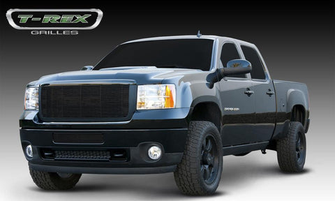 Sierra HD Grille Overlay 11-14 GMC Sierra HD Aluminum Powdercoat Black Billet Series T-REX Grilles