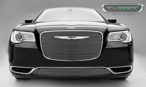 Chrysler 300 Grille Overlay W/Polished Face 15-17 Chrysler 300 Aluminum Powdercoat Black 1 Piece Billet Series T-REX Grilles