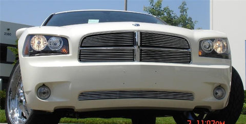 Charger Grille Overlay 05-10 Dodge Charger Aluminum Polished 4 Piece Billet Series T-REX Grilles