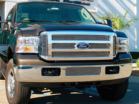 Super Duty Grille Overlay 05-07 Ford Super Duty XL Aluminum Polished 6 Piece Billet Series T-REX Grilles