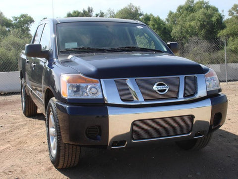 Titan Grille Overlay/Bolt On W/Logo Opening 08-14 Nissan Titan Aluminum Polished 3 Piece Billet Series T-REX Grilles