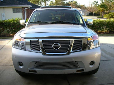 Armada Grille Overlay/Bolt On W/Logo Opening 08-14 Nissan Armada Aluminum Polished 3 Piece Billet Series T-REX Grilles