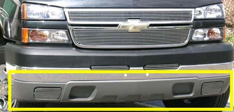 Silverado 2500/3500 HD Bumper Air Dam Grille Fog Lamps 03-07 Chevrolet Silverado 2500/3500 HD Aluminum Polished 2 Piece Billet Series T-REX Grilles