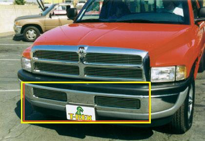 Ram Bumper Grille Insert 94-01 Dodge Ram Not 99 Up Sport Aluminum Polished Billet Series T-REX Grilles