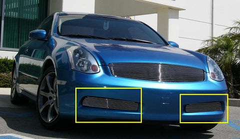 G-35 Coupe Bumper Grille Insert 03-07 Infiniti G-35 Coupe Aluminum Polished 2 Piece Billet Series T-REX Grilles