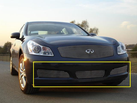 G-35 Sedan Bumper Grille 07-08 Infiniti G-35 Sedan Aluminum Polished 3 Piece Billet Series T-REX Grilles