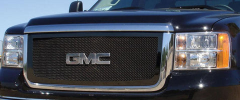 Sierra HD Grille 07-10 GMC Sierra HD Mild Steel Powdercoat Black Upper Class Series T-REX Grilles