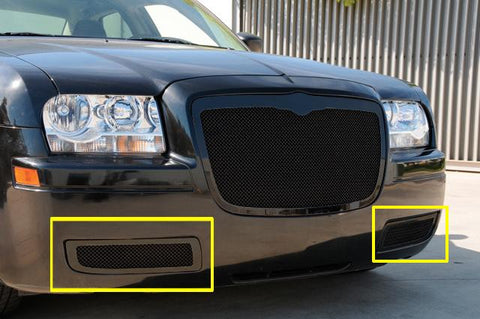 Chrysler 300 Bumper Grille 05-10 Chrysler 300 W/O Factory Fog Lights Mild Steel Polished Upper Class Series T-REX Grilles
