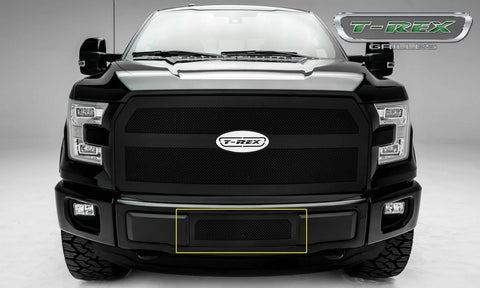 F-150 Bumper Grille 15-17 Ford F-150 Mild Steel Powdercoat Flat Black 1 Piece Upper Class Series T-REX Grilles