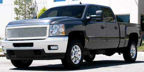 Silverado HD Grille 11-14 Chevrolet Silverado HD Stainless Polished 1 Piece Upper Class Series T-REX Grilles