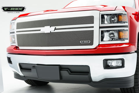 Silverado Grille 14-15 Chevrolet Silverado W/2 Bars Across Stainless Polished 1 Piece Upper Class Series T-REX Grilles