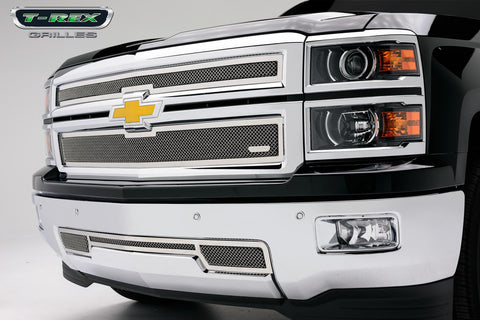 Silverado Z71 Grille 14-15 Chevrolet Silverado Z71 Stainless Polished 2 Piece Upper Class Series T-REX Grilles