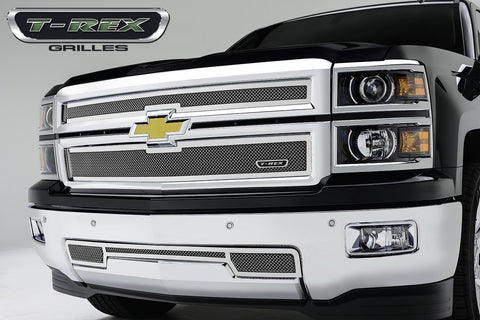 Silverado Grille 14-15 Chevrolet Silverado Replacement Stainless Polished 2 Piece Upper Class Series T-REX Grilles