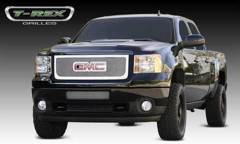 Sierra HD Grille Overlay W/Logo Opening 11-14 GMC Sierra HD Stainless Polished Upper Class Series T-REX Grilles