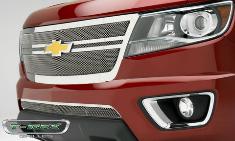 Colorado Grille 15-18 Chevrolet Colorado W/2 Center Bars Stainless Polished 1 Piece Upper Class Series T-REX Grilles