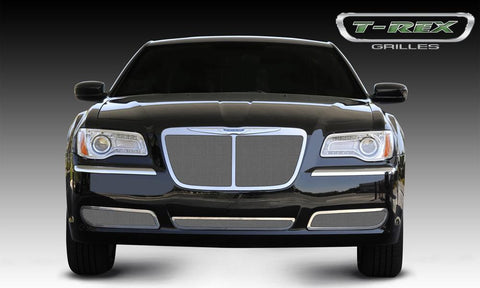 Chrysler 300 Grille 11-14 Chrysler 300 W/Center Vertical Bar OE Logo installs Top of Grille Stainless Polished Upper Class Series T-REX Grilles
