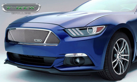 Mustang GT Grille 15-17 Ford Mustang GT PartitionedStainless Polished 1 Piece Upper Class Series T-REX Grilles