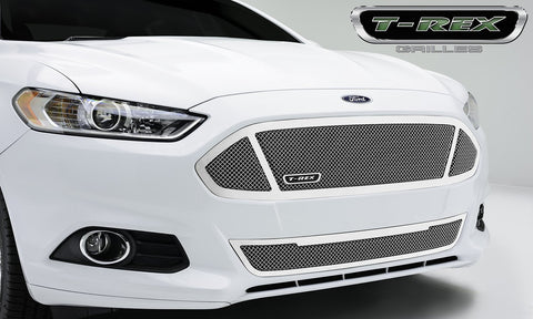 Fusion Grille 13-15 Ford Fusion Main W/3 Windows Stainless Polished 1 Piece Upper Class Series T-REX Grilles