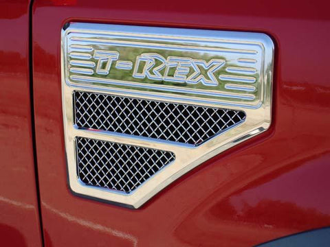Super Duty Side Vent Grille 08-10 Ford Super Duty Stainless Polished Upper Class Series T-REX Grilles