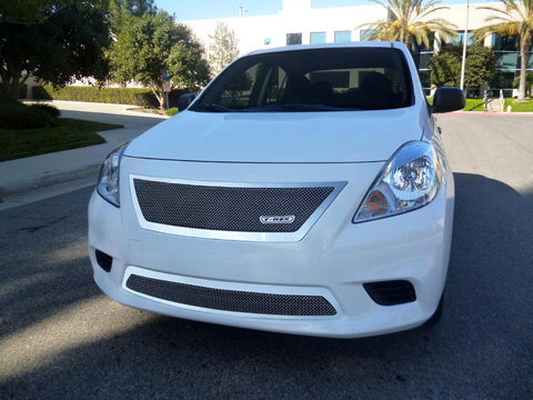 Versa Sedan Grille W/OE Logo 12-14 Nissan Versa Sedan Stainless Polished Upper Class Series T-REX Grilles