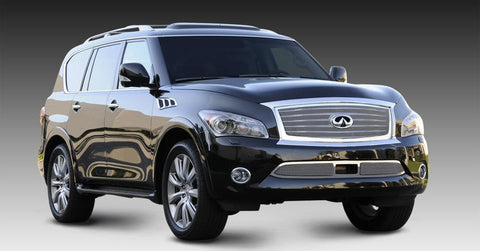 QX56 Grille 11-13 Infiniti QX56 W/OE Logo Plate Stainless Polished Upper Class Series T-REX Grilles