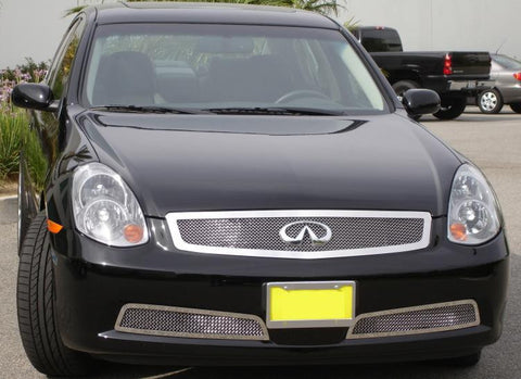 G-35 Sedan Grille 05-06 Infiniti G-35 Sedan Stainless Polished Upper Class Series T-REX Grilles