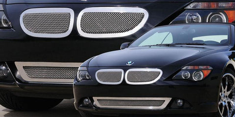 6 Series Coupe Grille 04-11 BMW 6 Series Coupe Stainless Polished 2 Piece Upper Class Series T-REX Grilles