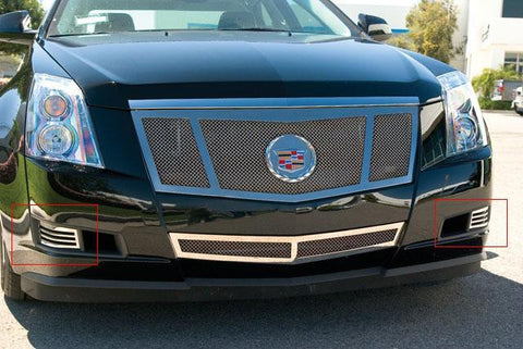 CTS Bumper Grille 08-13 Cadillac CTS W/O Fog Lights Stainless Polished 2 Piece Upper Class Series T-REX Grilles