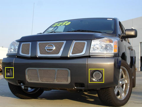 Titan Fog Light Grille 04-14 Nissan Titan Stainless Polished Upper Class Series T-REX Grilles