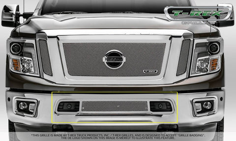 Titan Bumper Grille 16-18 Nissan Titan Stainless Polished Upper Class Series T-REX Grilles