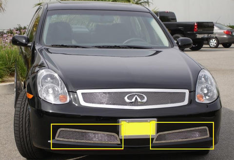 G-35 Sedan Bumper Grille 05-06 Infiniti G-35 Sedan Stainless Polished 2 Piece Upper Class Series T-REX Grilles