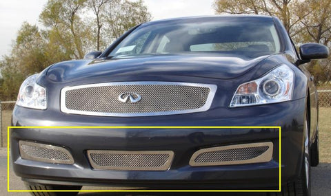 G-35 Sedan Bumper Grille 07-08 Infiniti G-35 Sedan Stainless Polished Upper Class Series T-REX Grilles