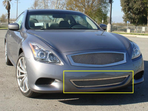 G-37 Coupe Bumper Grille 08-14 Infiniti G-37 Coupe Stainless Polished 1 Piece Upper Class Series T-REX Grilles