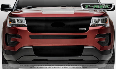 Explorer Grille 16-18 Ford Explorer W/Factory Logo W/O Forward Facing Camera Aluminum Powdercoat Black Laser Billet Series T-REX Grilles